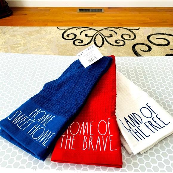 Rae Dunn set of 3 patriotic towels